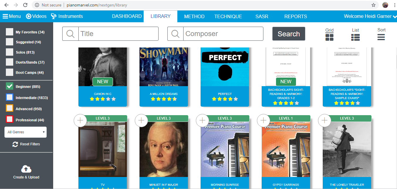 Easy songs in the Piano Marvel music library