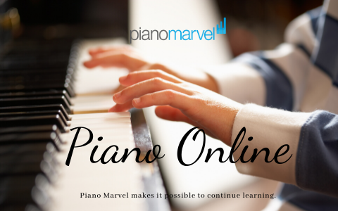 piano online, child's hands on piano keys