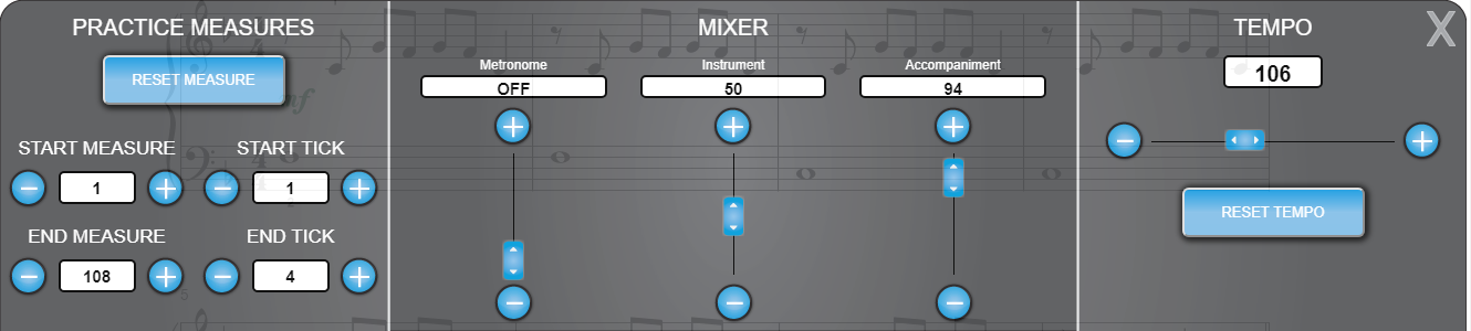 Piano Marvel's mixing and play controls window