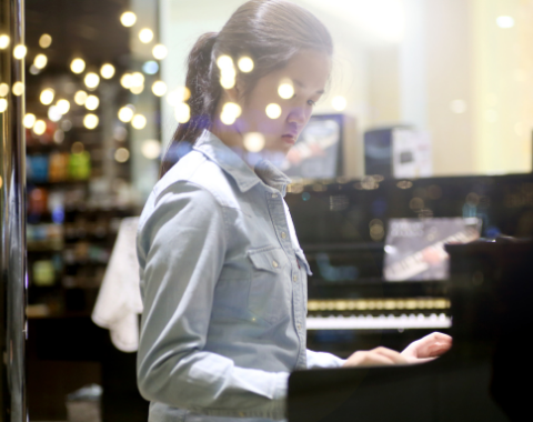 College student in class piano