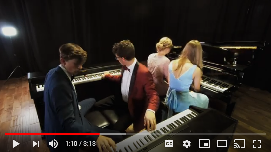 Four teens playing on 3 pianos