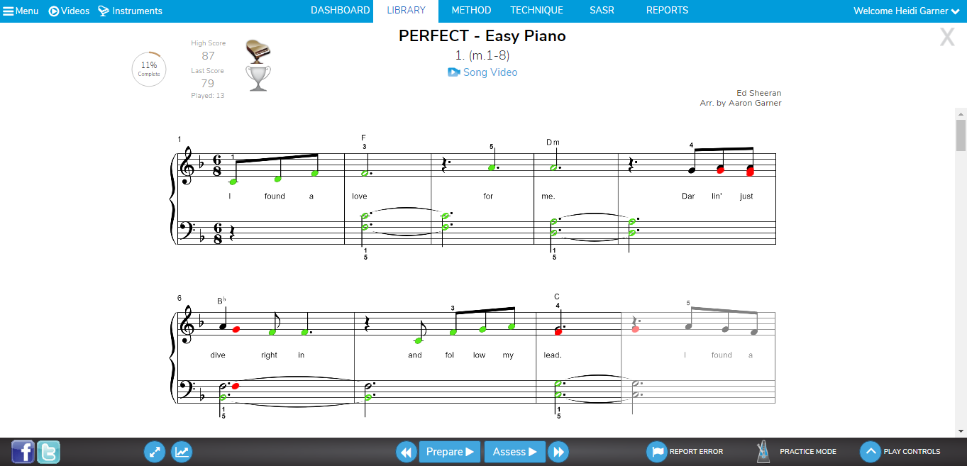 Piano Marvel Scoring, Assessment Mode, Automatic Grading